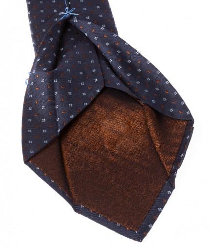 cravate-7-plis-en-soie-tissee-bleue-et-gouttes-marrons
