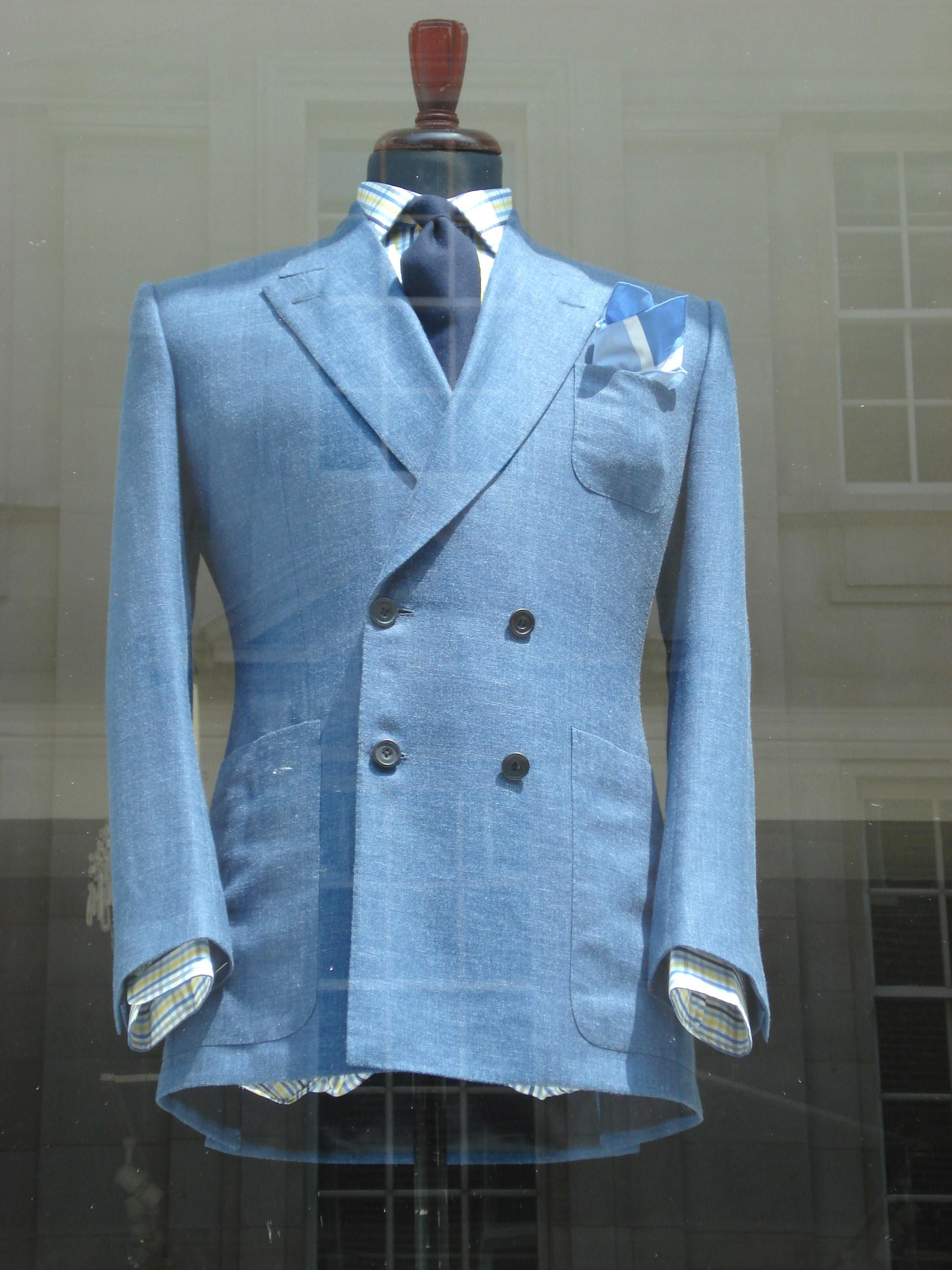 """Le choix de Parisian Gentleman : veste croisée en lin avec poches plaquées """"Norton & Sons"""""""