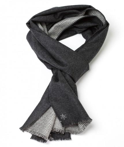 Howard's echarpe-flannelle-grise-reversible-a-motifs-pied-de-poule-gris