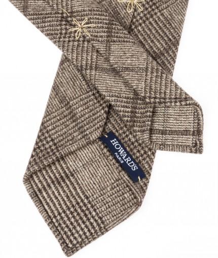Howard's cravate-non-doublee-flanelle-prince-de-galles-beige-et-marron