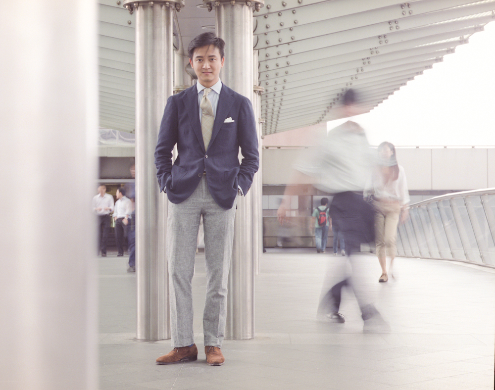 grey trousers - odd jacket