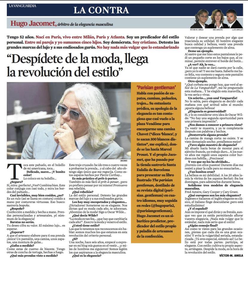 La Vanguardia - La Contra - Hugo Jacomet