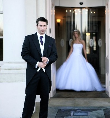 morning suit and bride