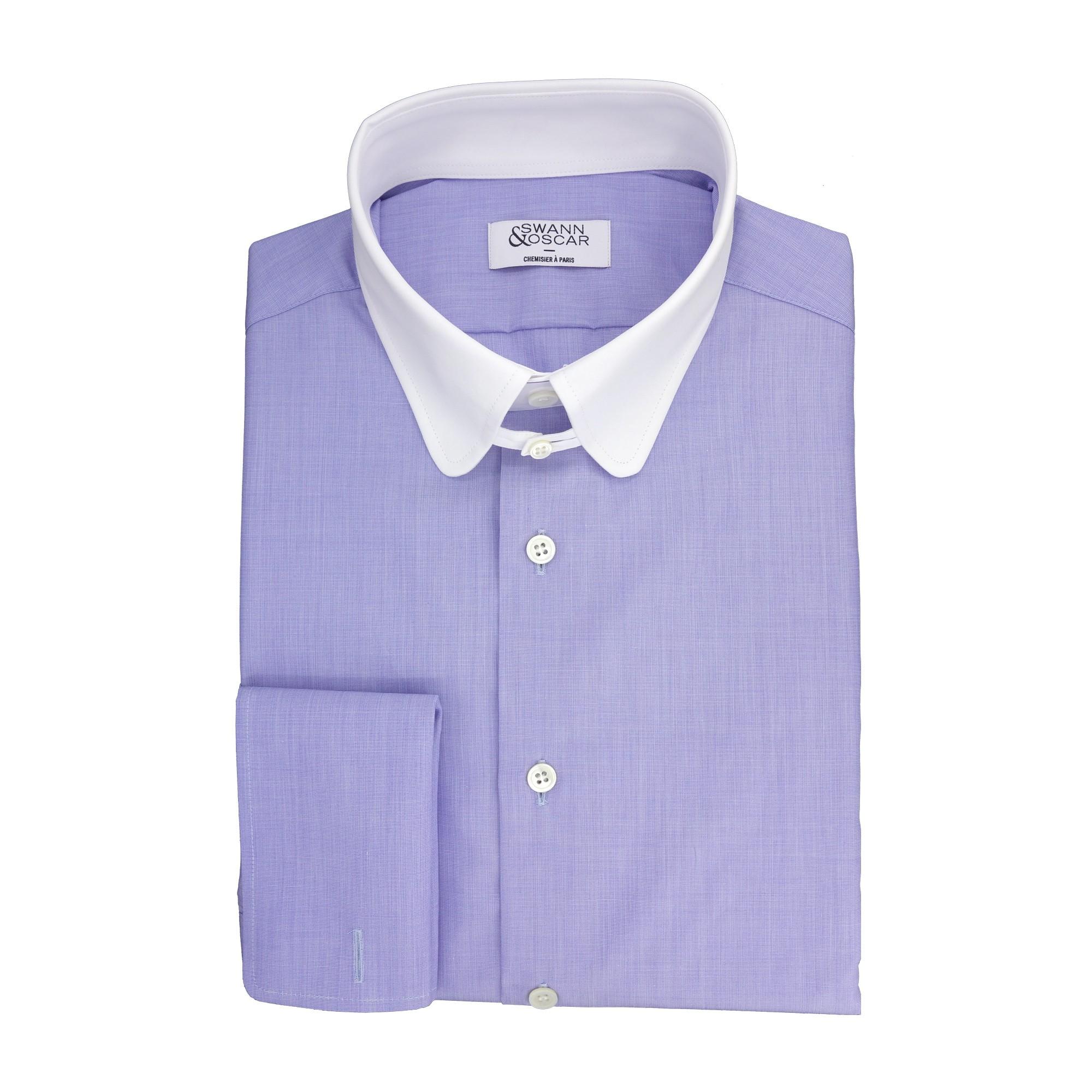 Swann and Oscar bleue contrastée tab collar