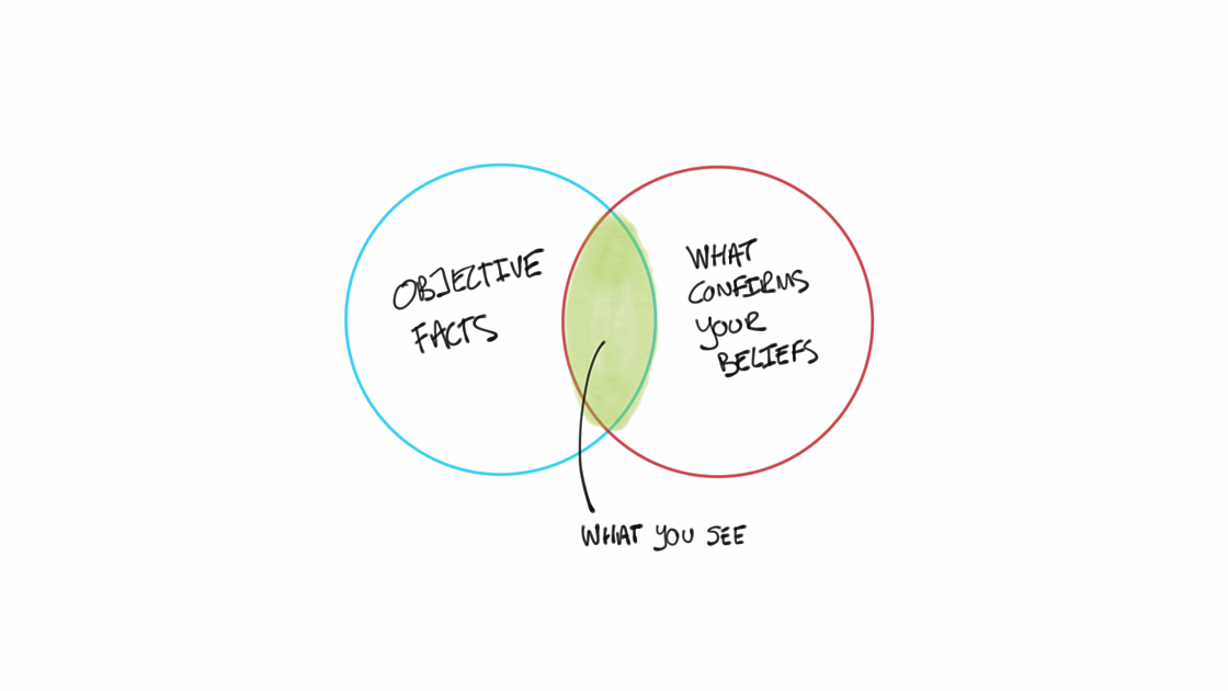 Two spheres intersecting to explain how objective facts are connected to data that confirms your beliefs.