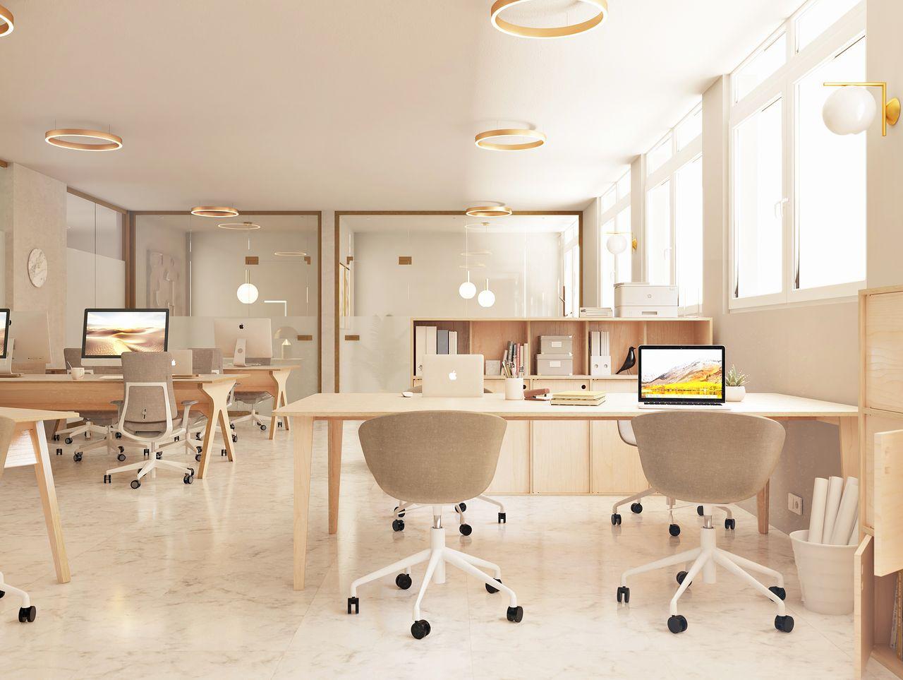 Bureau partagé dans un open space au style contemporain pour 4 à 6 personnes