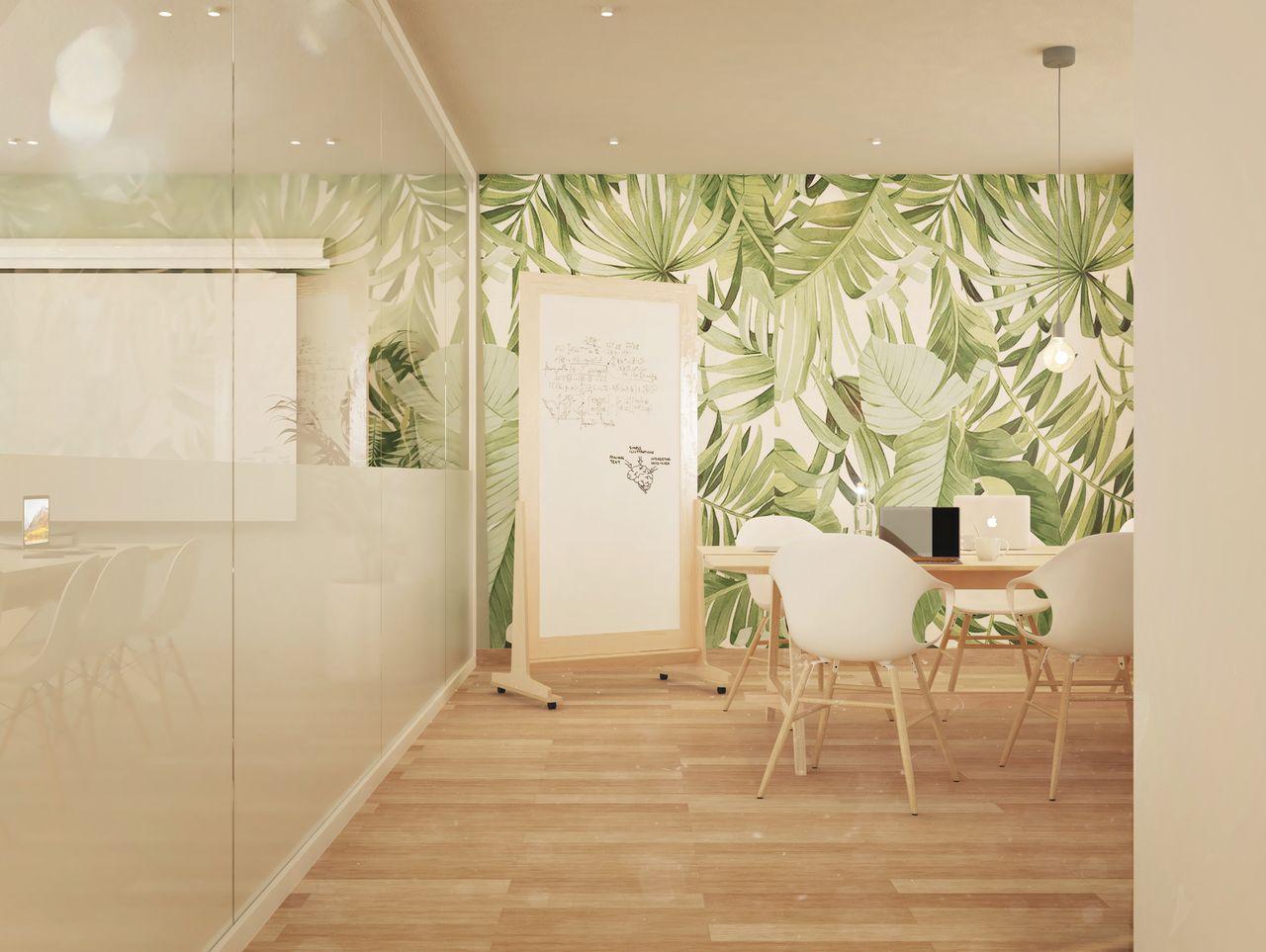 Tableau blanc effacable avec cadre en bois et roulettes situé dans une salle de réunion au style scandinave avec un mur de papier peint motif feuilles d'arbre