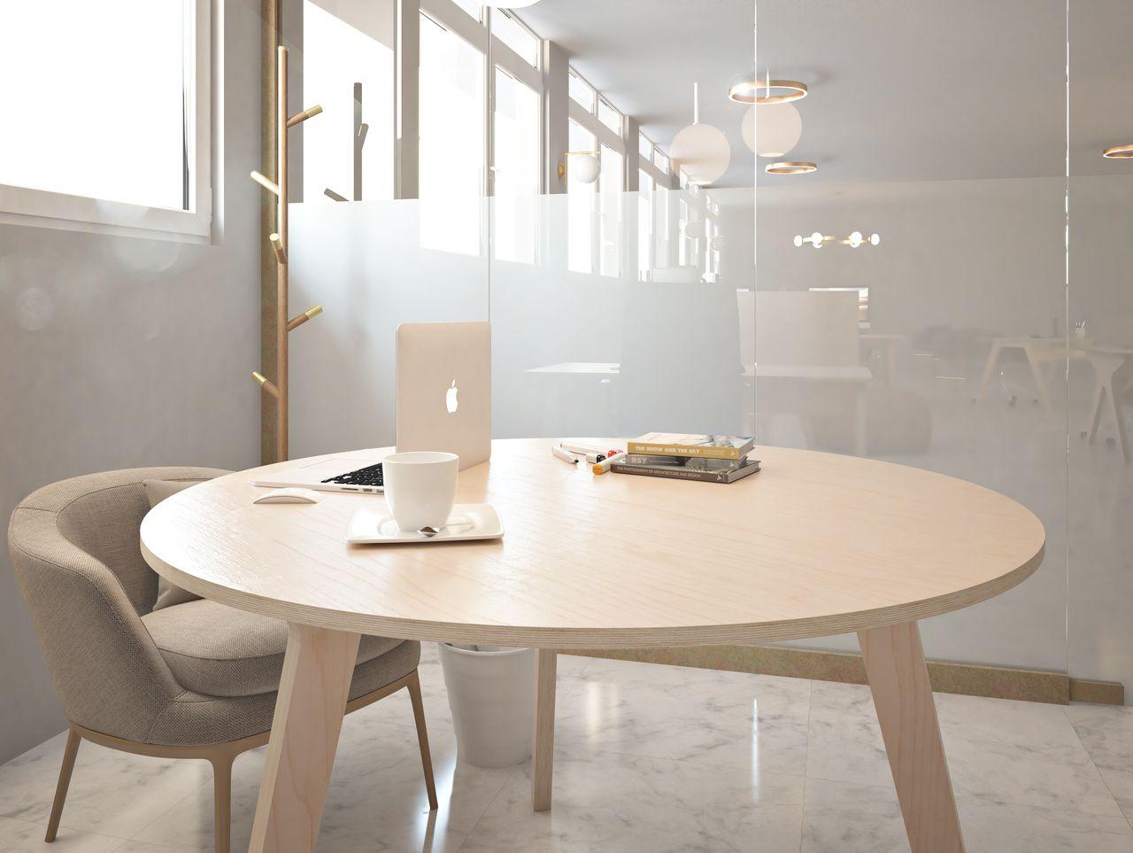 table de réunion design dans un espace informel au style contemporain avec une verrière et des luminaires et un porte manteau moderne de couleur dorée