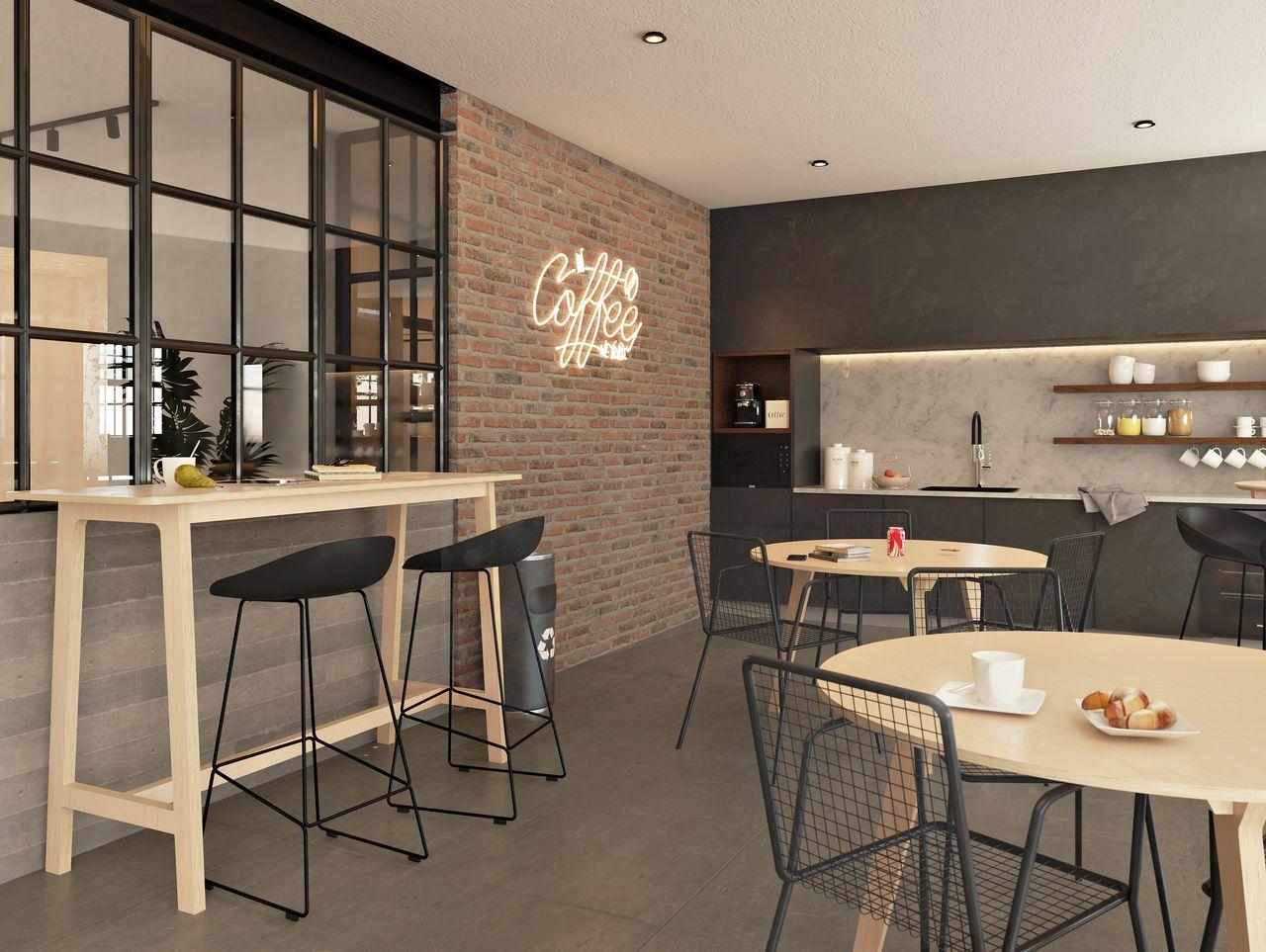 Mange debout 4 pieds conçu en bois de bouleau et accessoirisé de roulettes, idéal pour déjeuner rapidement et facilement modulable dans une salle de pause à l'ambiance industrielle