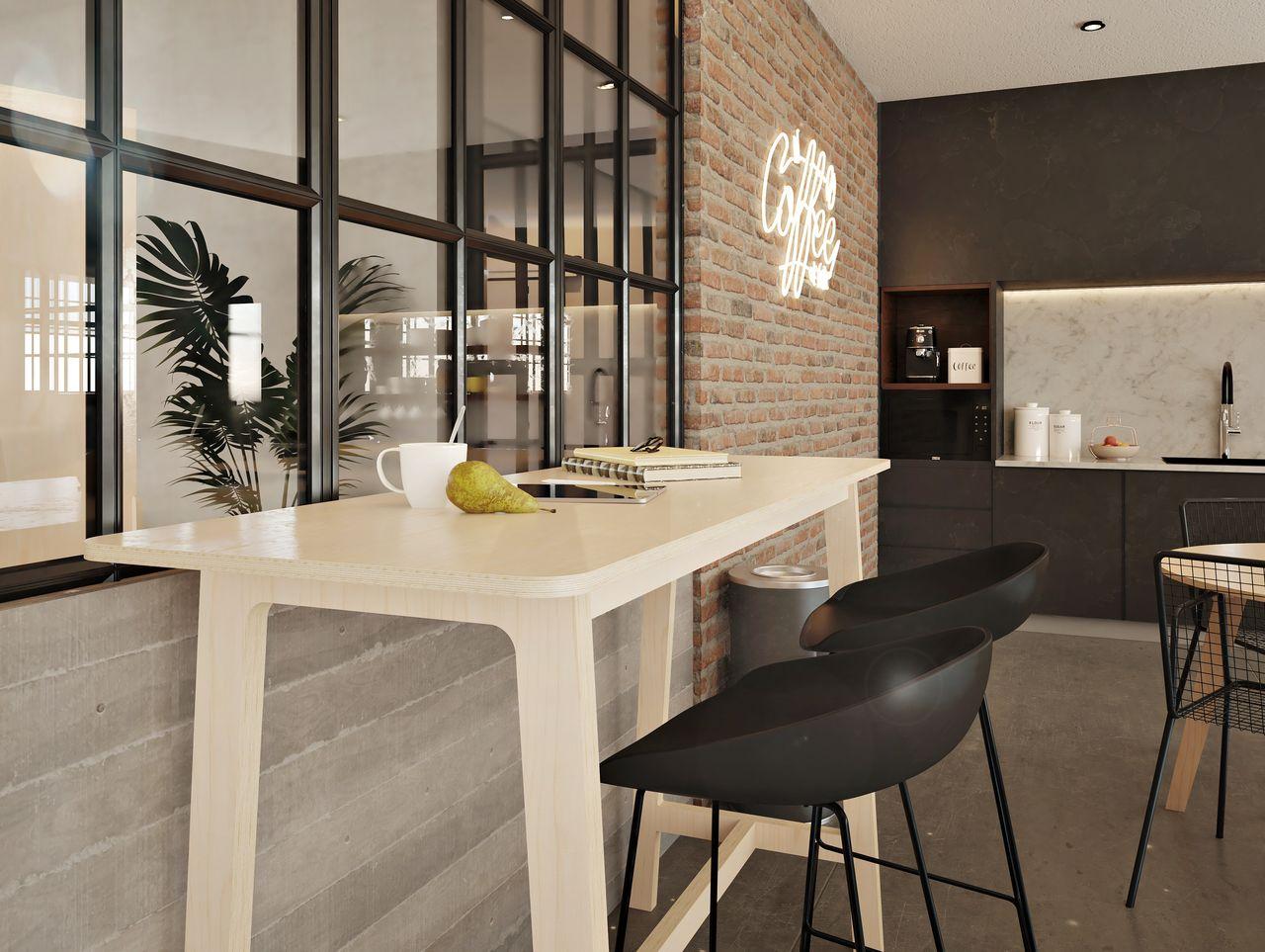 Mange debout rectangulaire pour 2 personnes disposée face à une verrière aux contours noirs dans une cafétéria au style et à l'ambiance industrielle avec des briques rouges et du métal noir