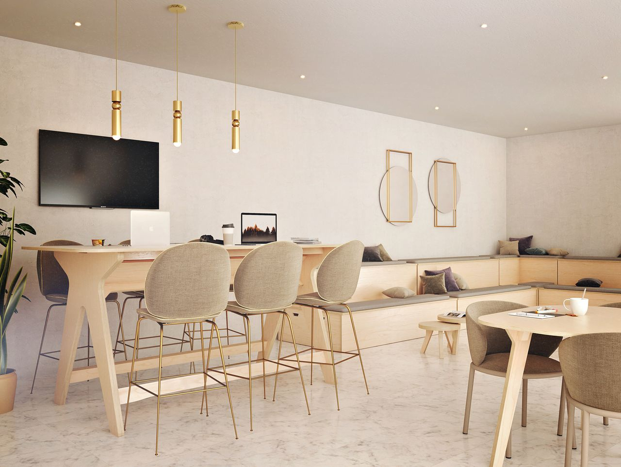 Table de réunion debout située dans une salle de réunion informelle à l'ambiance et au style contemporain avec des luminaires, des estrades modernes et une télévision avec des ordinateurs posés dessus.