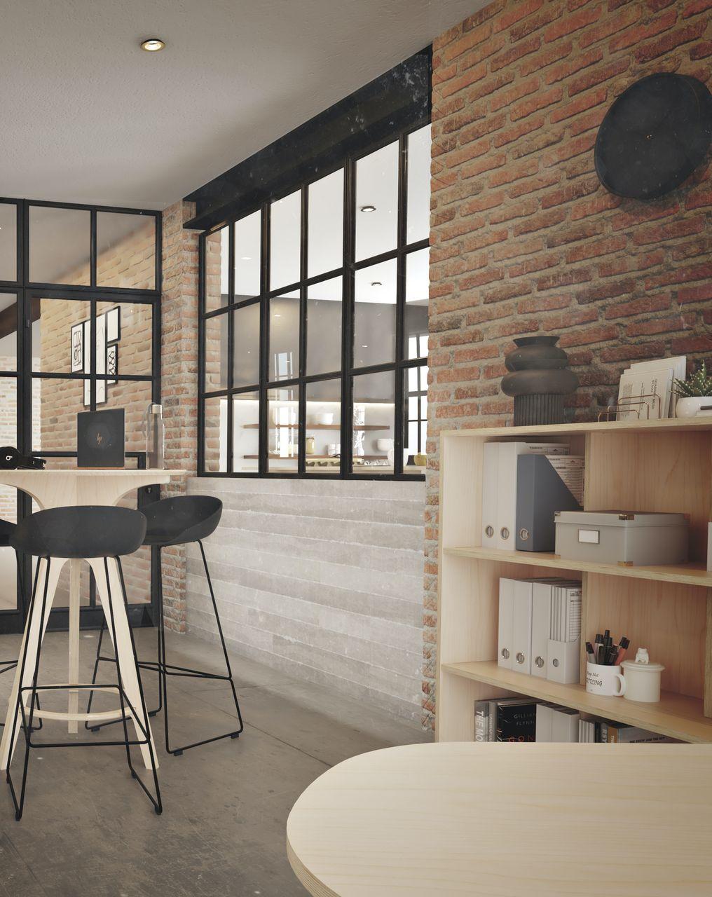 mange debout en bois pour une pause déjeuner rapide ou pour des échanges informels entre collaborateurs dans un environnement de travail à l'ambiance industrielle décorée de métal et de briques