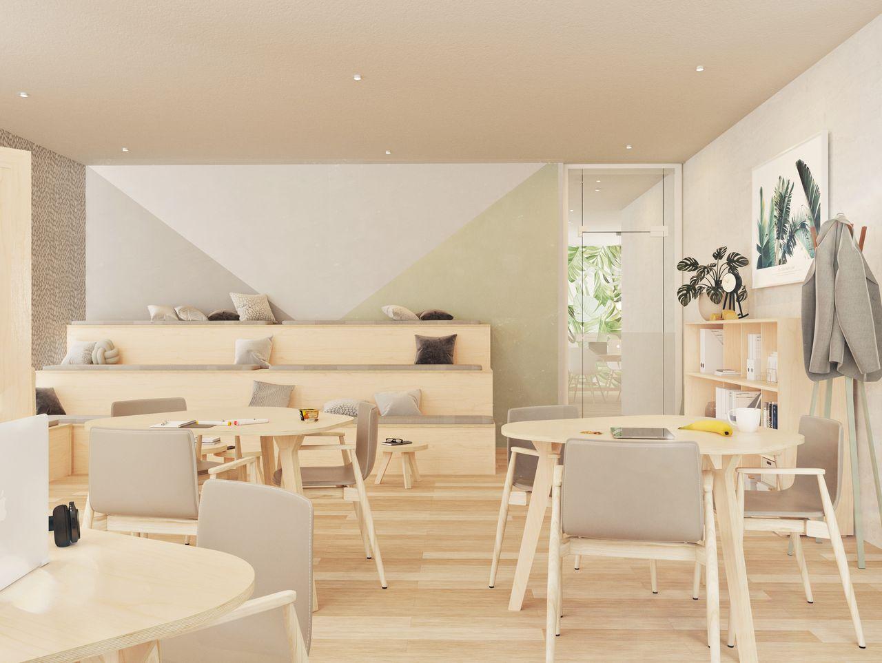 Estrade pour coin lecture en bois sur 3 niveaux avec des coussins colorés dans une salle de réunion informelle avec des plantes et des rangements à l'ambiance scandinave