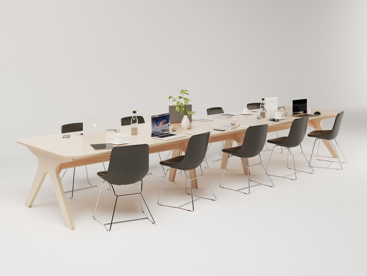 Table de réunion en bois pour conférence de 10 personnes