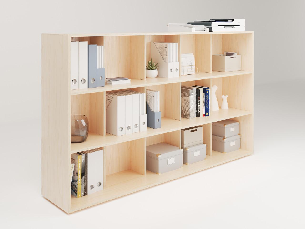 Armoire avec plusieurs rangements en bois à 15 cases idéale pour ranger les documents administratifs, les livres, les archives ou de petites plantes pour organiser avec esthétique votre environnement de travail