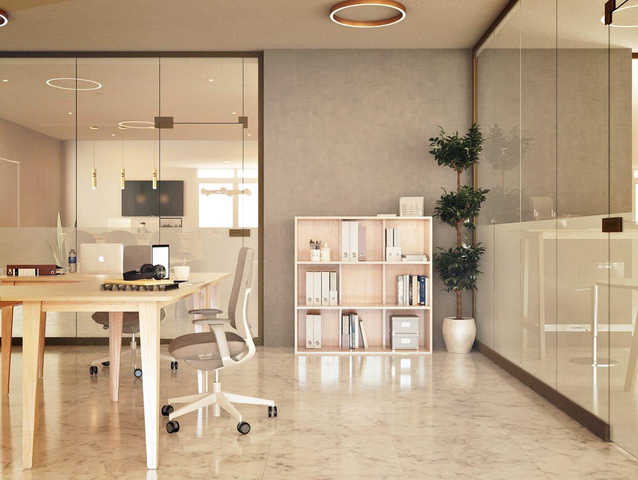 Bibliothèque pour bureau avec des documents administratifs et des livres rangés à l'intérieur, disposée dans une salle de réunion vitrée, à l'ambiance et au style contemporain décorée avec des luminaires modernes et une plante verte