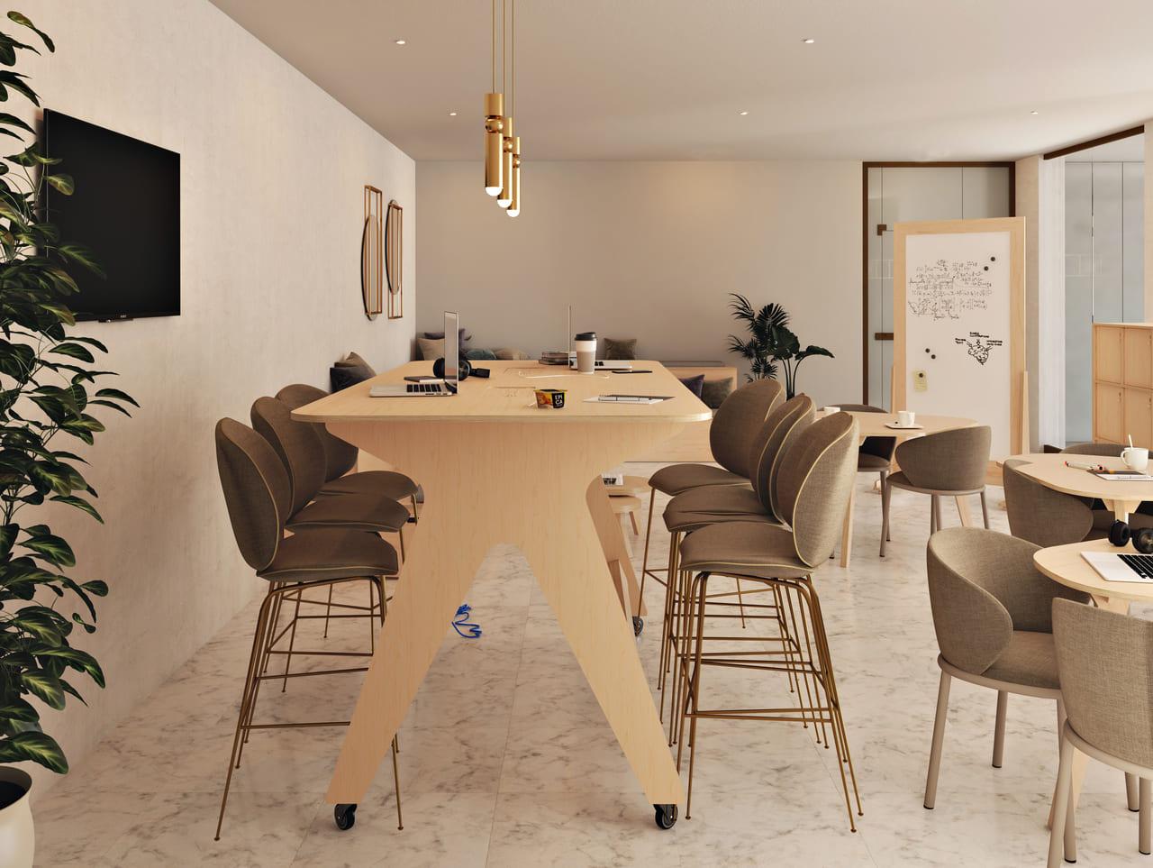 Table haute à roulettes située dans une salle de réunion informelle à l'ambiance et au style contemporain avec des luminaires et des miroirs dorés, un tableau effaçable, une télévision et une plante verte