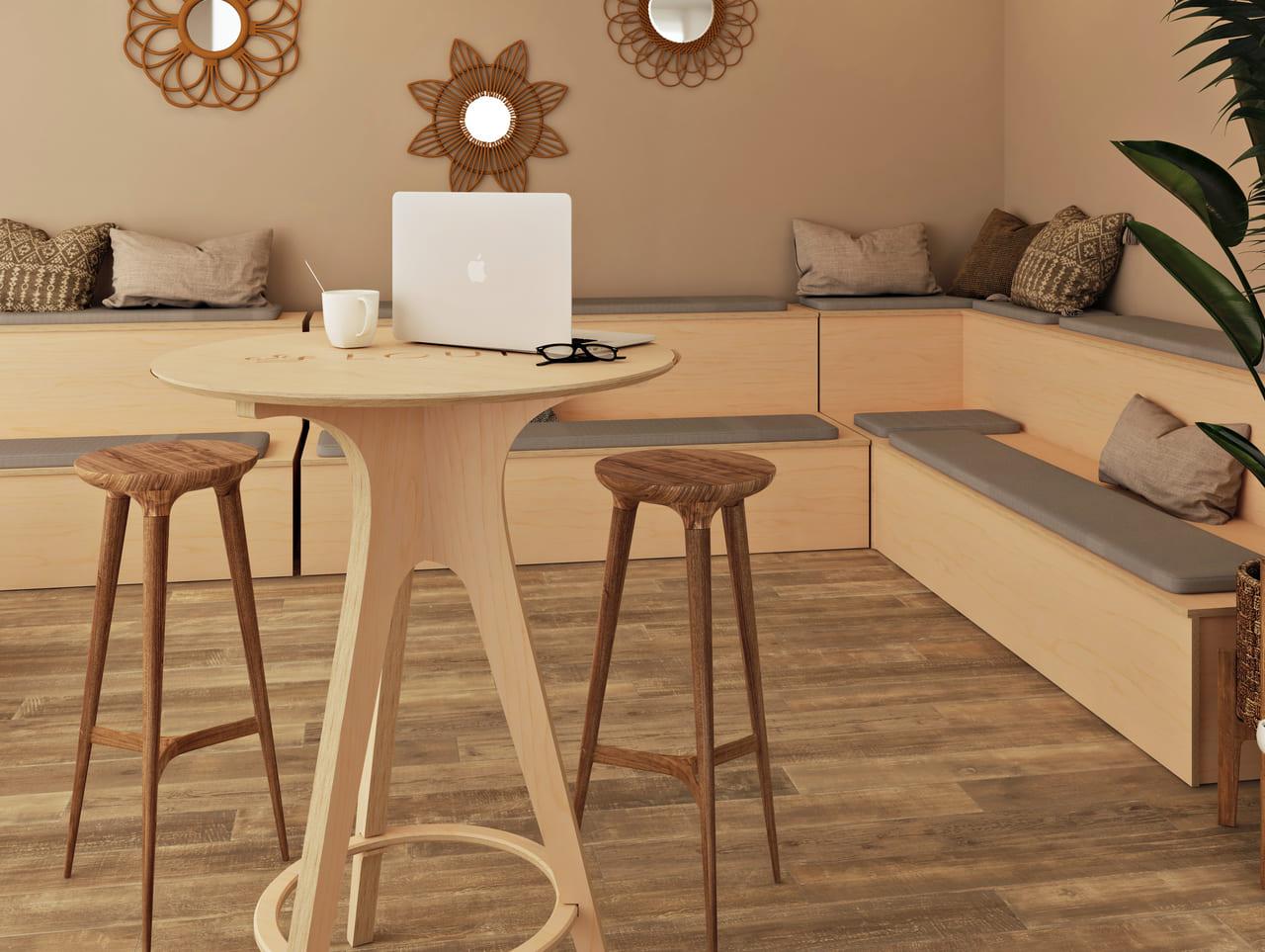 table de cafétéria pour réaliser une pause déjeuner rapide dans une salle végétale et boisée à l'ambiance et style bohème et ethnique