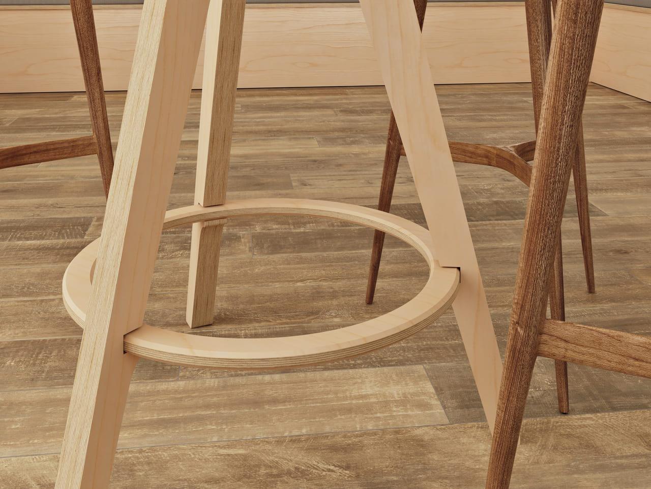 table haute en bois tenant sur 3 pieds pour réaliser une pause déjeuner rapide ou une pause café s'adaptant à tout type d'espace détente avec son design simple