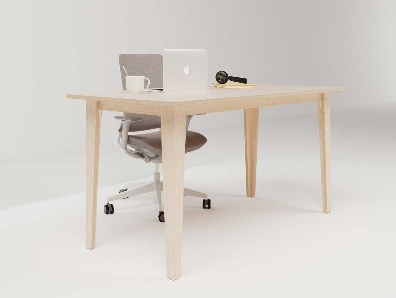 Petit bureau droit en bois pour travailler seul au bureau ou en télétravail avec son ordinateur portable et une tasse de café