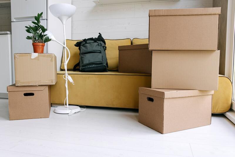Cartons d'un déménagement d'entreprise, plantes posée dessus, luminaire blanc et canapé jaune avec un sac à dos posé dessus