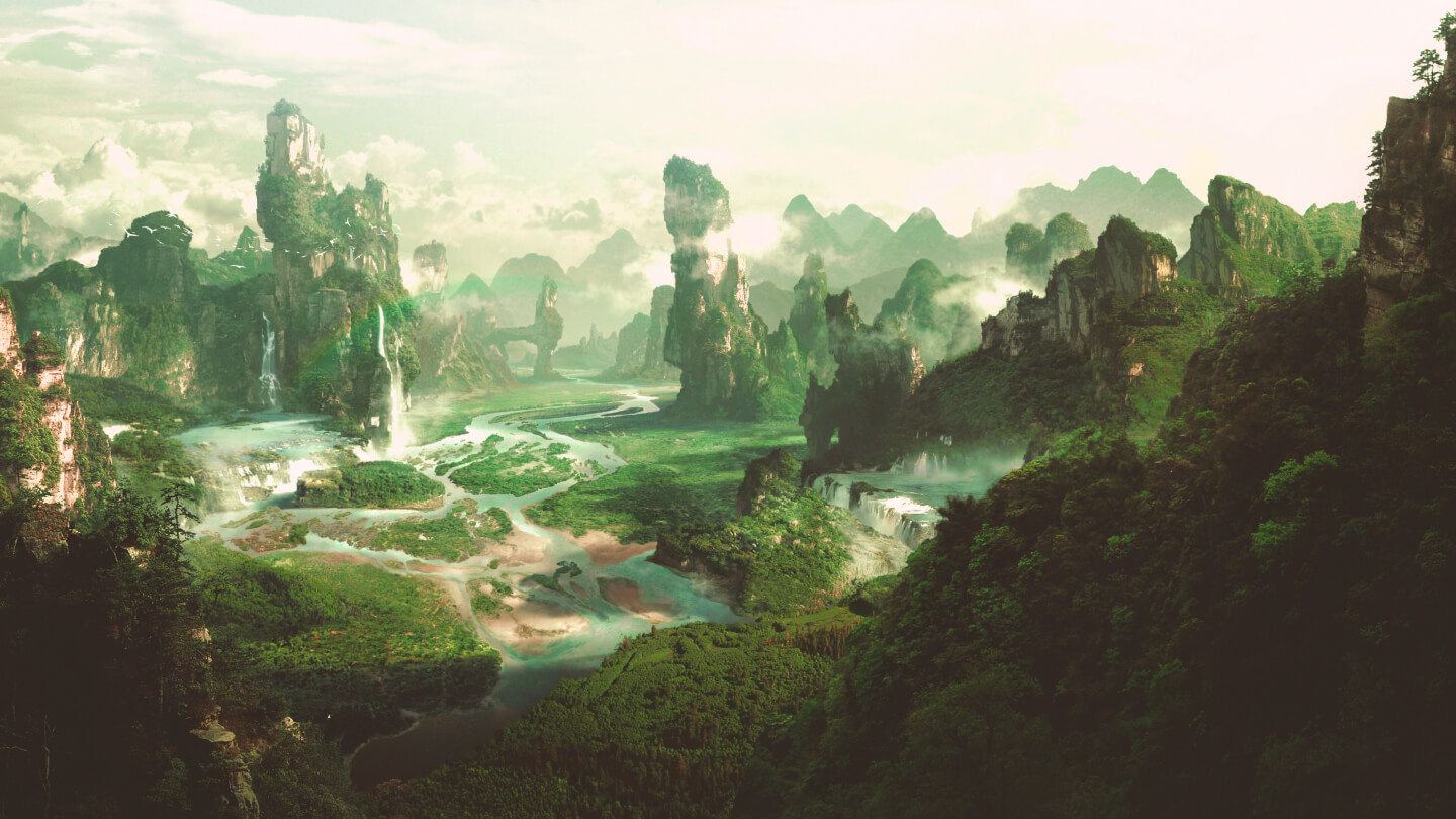 A fantasy world from a video game