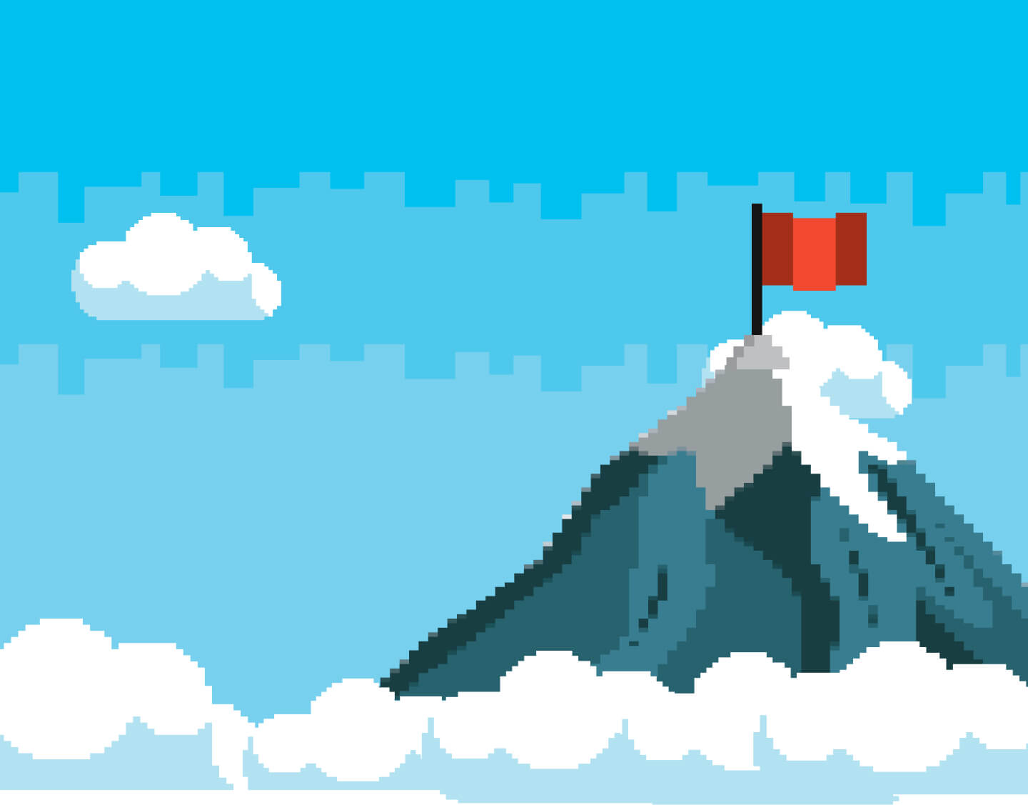 Illustration of clouds, a mountain and a red flag on top of the mountain