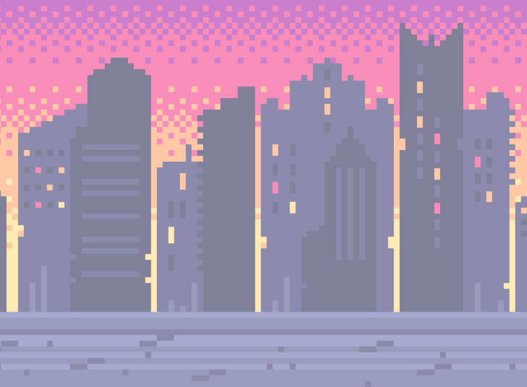 A cityscape with tall buildings, yellow lights and a pick and orange night sky
