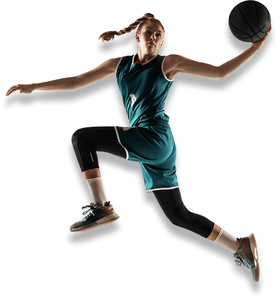 Basketball player jumping in the air