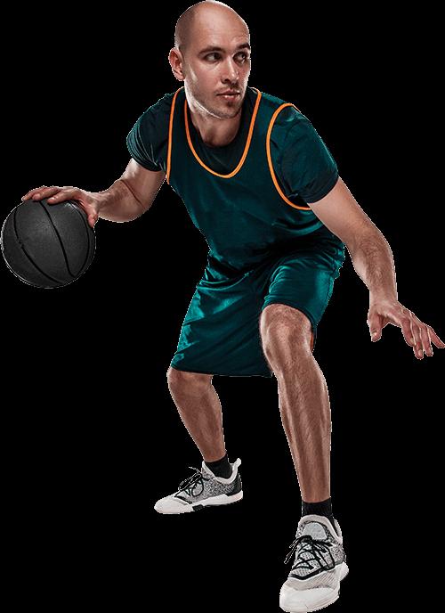 Basketballer dribbling the ball