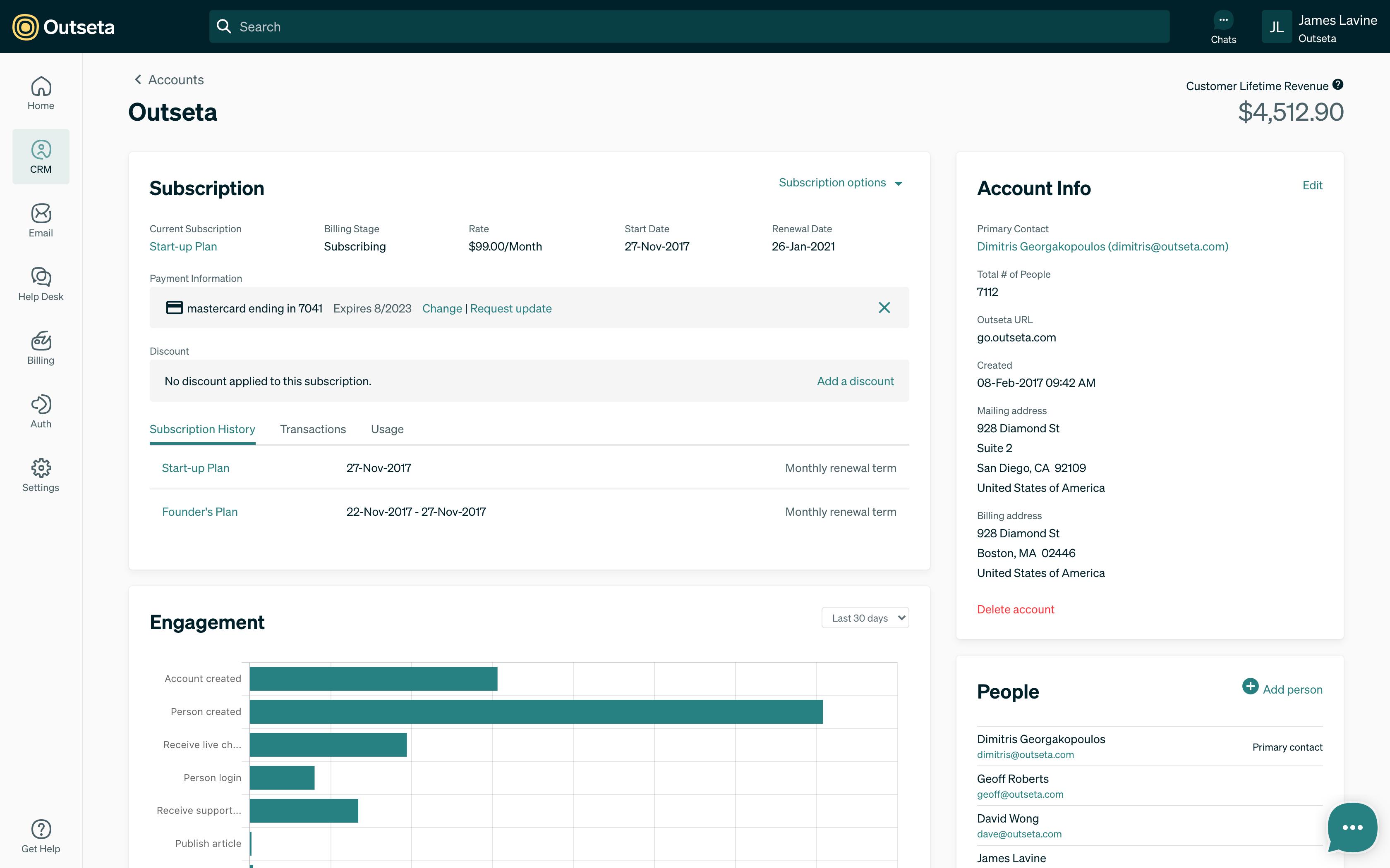 Screenshot of the account detail screen.