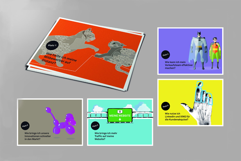 Postkartenkampagne zur Kundengewinnung einer Digital Marketing Agentur.