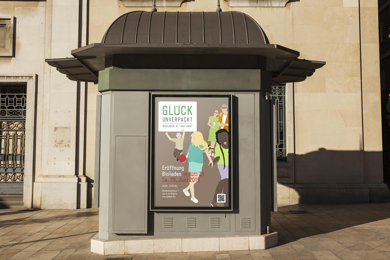Illustrierte Plakatwerbung für Bio-Laden