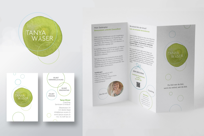 Grafikdesign mit grünem Faden.