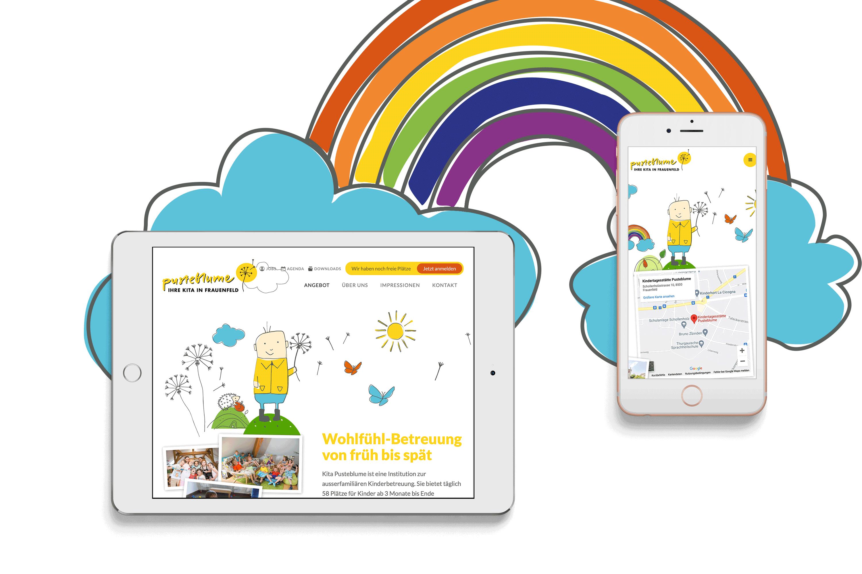 Fröhlicher Website Auftritt mit Illustrationen