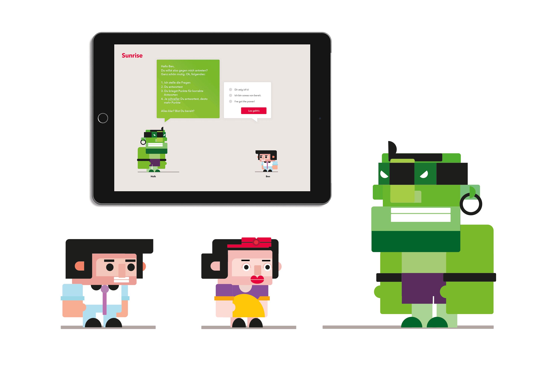 Illustrationen Game-Charakteren und UX/UI Design für Kampagnentool