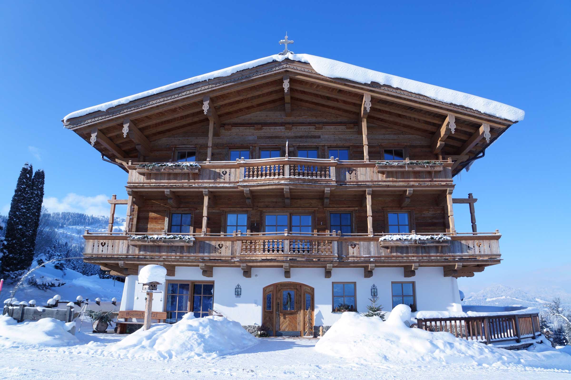 Winter vor der Haustüre des Naschberghofes.