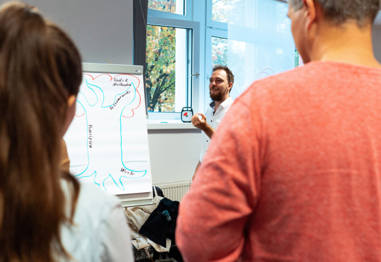 Agile Coach explaining at Flipchart