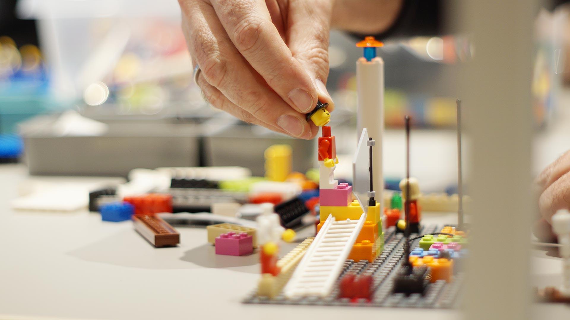 Man building lego