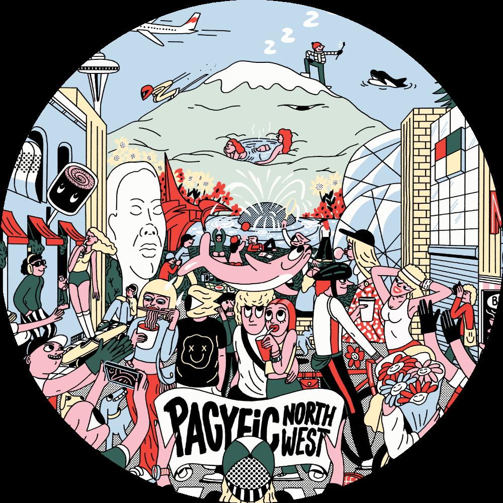 pop art illustration of Seattle