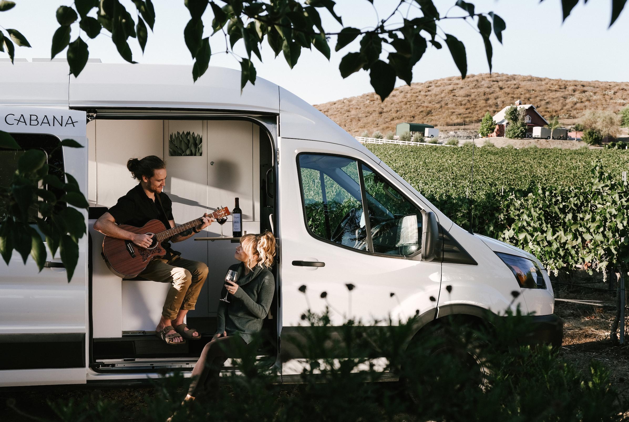 woman looking out of van window