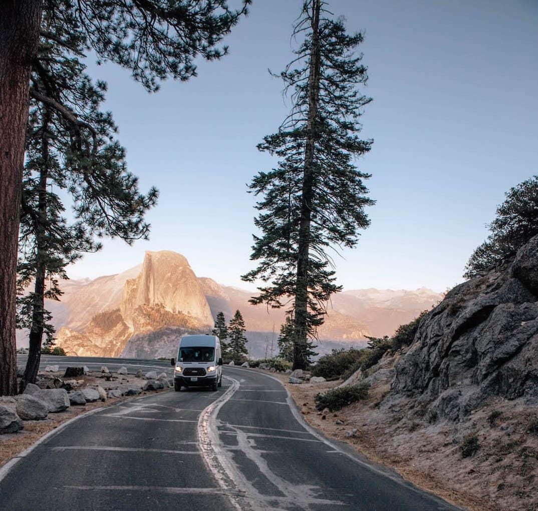 Van driving through Yosemite