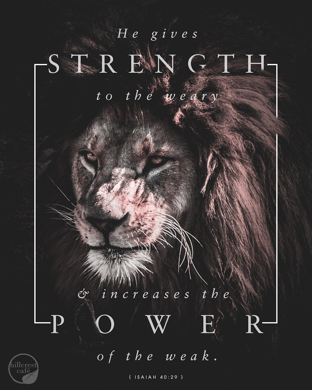 Poster of a lion. Isaiah 40:29