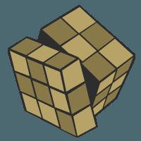 A bronze rubik's cube