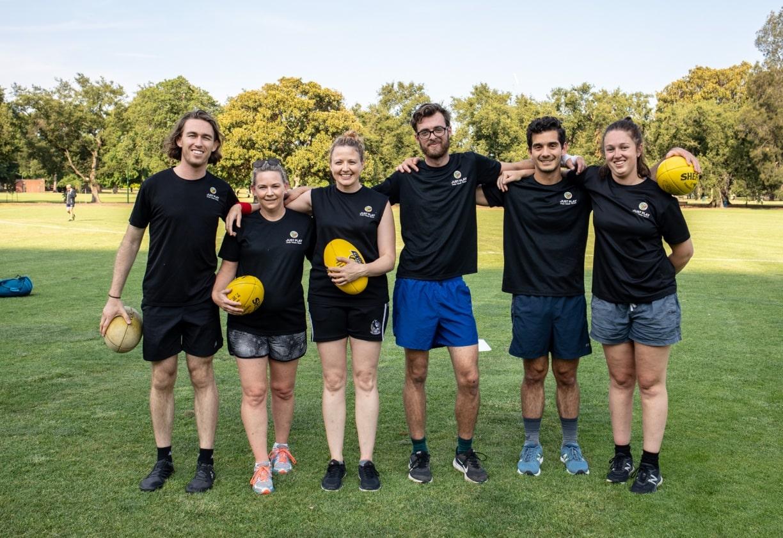 A team photo of a social Footy 7s team