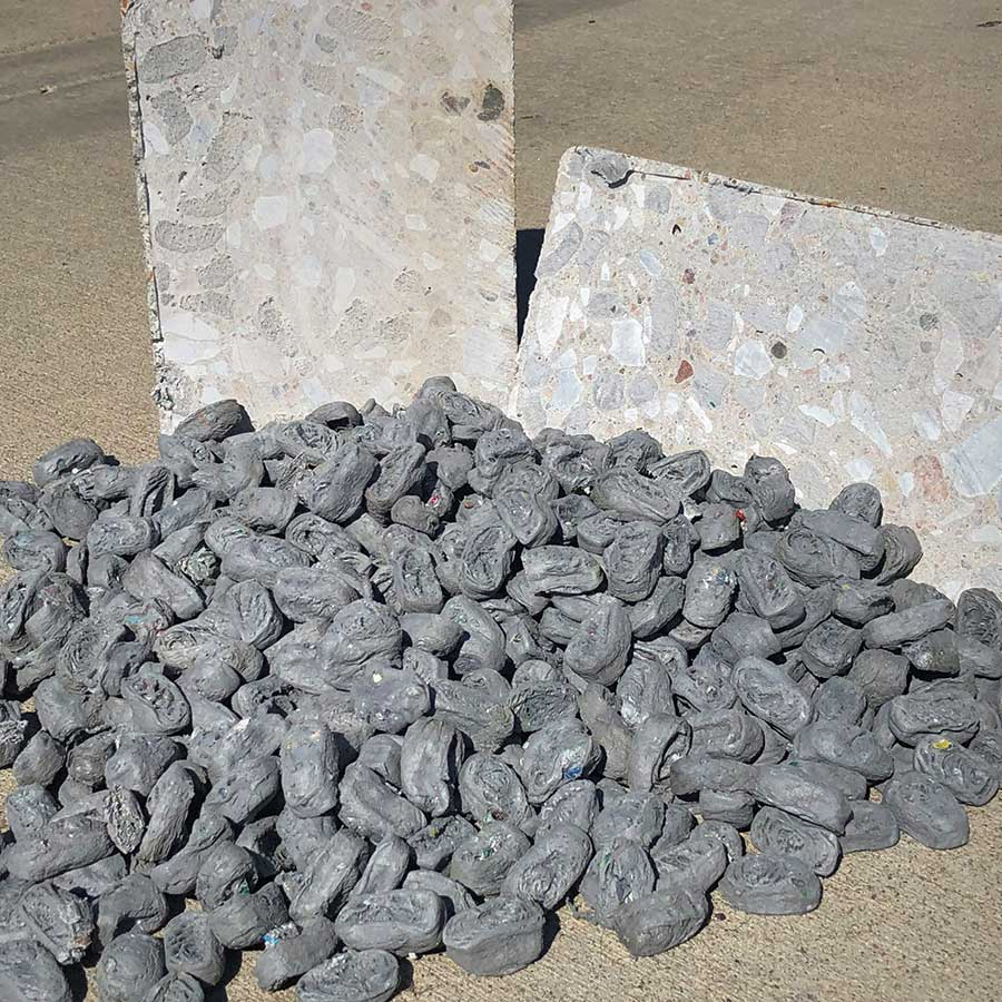 Plazrok's concrete additive made from waste plastic.