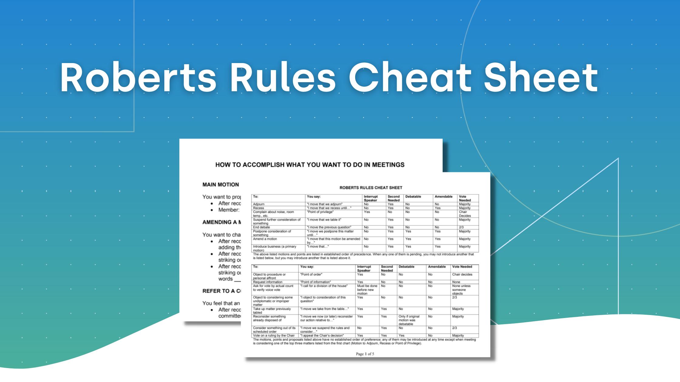 Roberts Rules - Cheat Sheet