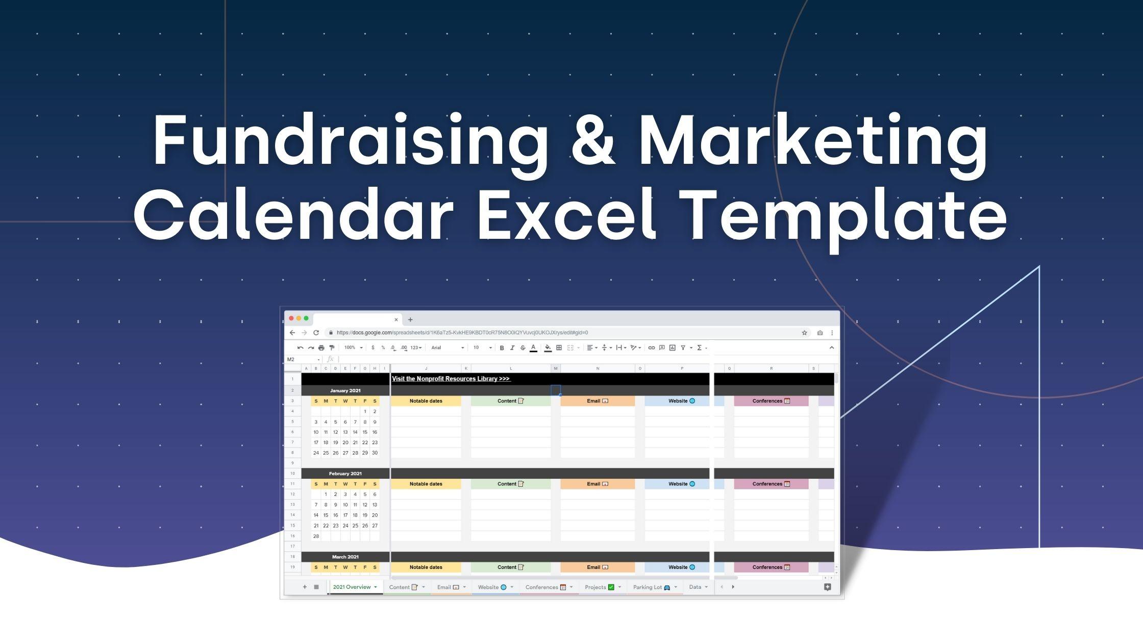 Marketing Calendar Template for Nonprofits (Excel Spreadsheet / Google Sheets)