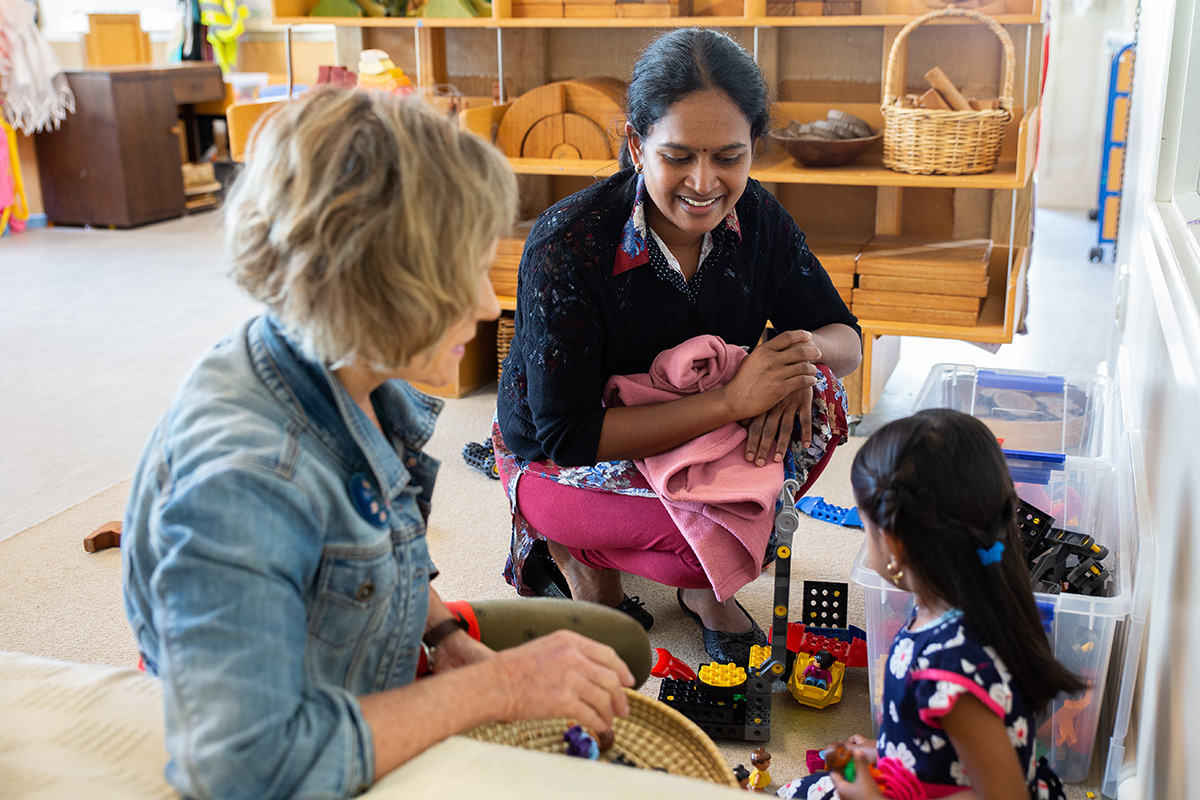 Indian mother and daughter at a preschool