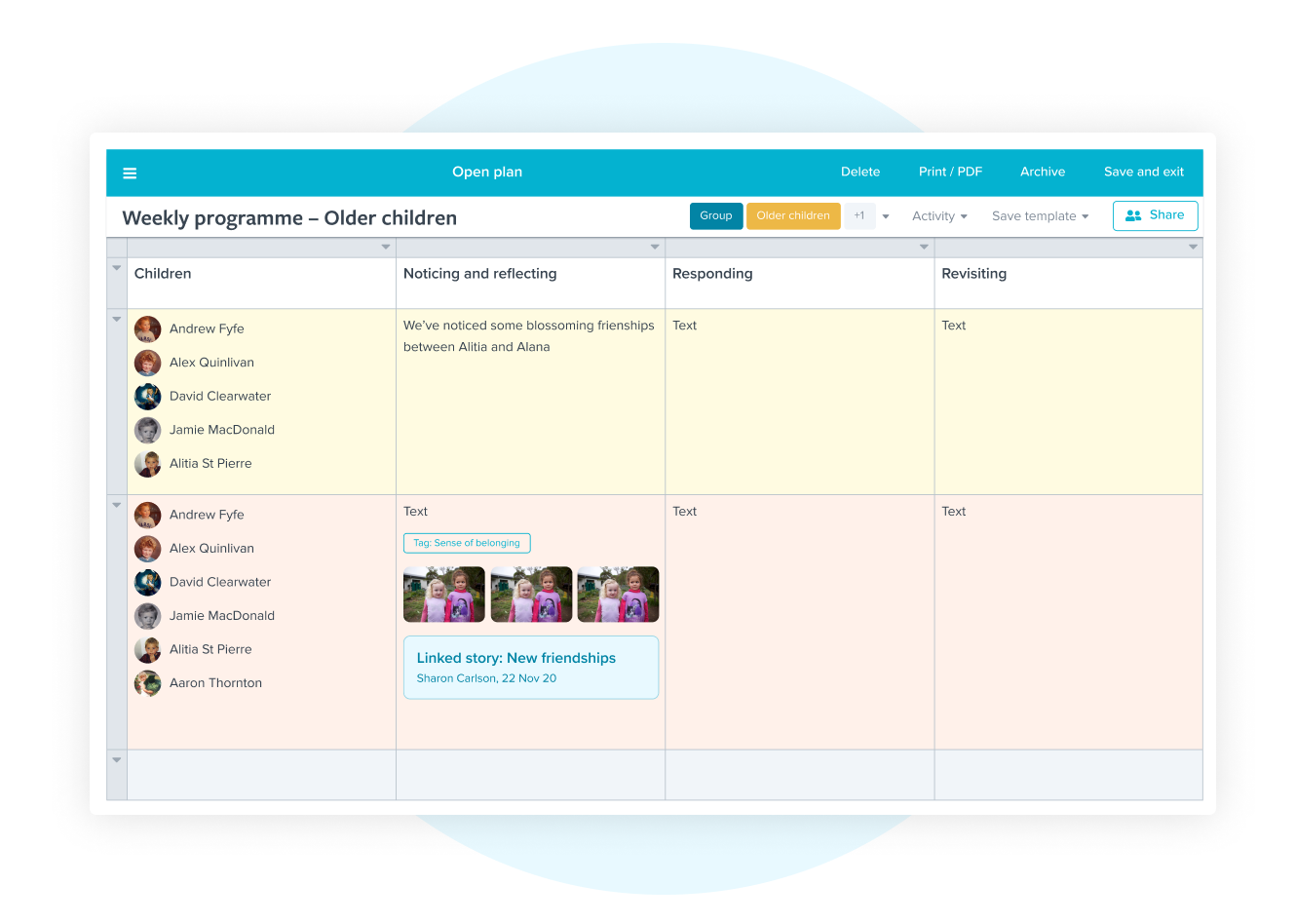 Storypark Planning Tools